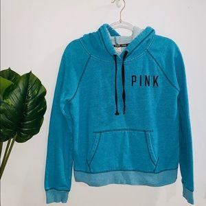 Pink Victoria's Secret Blue Hoodie Sweater